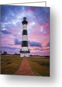 Hatteras Greeting Cards - Bodie Island Lighthouse Sunrise OBX Outer Banks NC - The Gatekeeper Greeting Card by Dave Allen