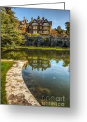 Fence Digital Art Greeting Cards - Bodnant House 1792 Greeting Card by Adrian Evans