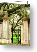 Cemetery Gate Greeting Cards - Bonaventure Cemetery Greeting Card by William Dey