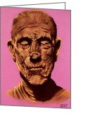 Curse Of Mummy Greeting Cards - Borris The Mummy Karloff Greeting Card by Brent Andrew Doty