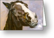 Bay Horse Greeting Card Greeting Cards - Boss Hoss Greeting Card by Susan A Becker