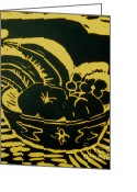 Featured Reliefs Greeting Cards - Bowl of Fruit Lino Yellow Greeting Card by Caroline Street