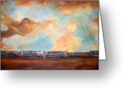 Trains Painting Greeting Cards - Boxcar Blues Greeting Card by Laura Sue