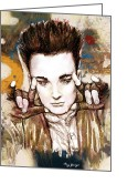 1980s Portraits Greeting Cards - Boy George long stylised drawing art poster Greeting Card by Kim Wang