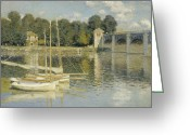 "\""small House\\\"" Greeting Cards - Bridge at Argenteuil Greeting Card by Nomad Art And  Design"