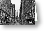 Cityhall Greeting Cards - Broad Street  Greeting Card by Bill Cannon