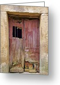 Old World Photography Greeting Cards - Broken Red Wood Door Greeting Card by David Letts