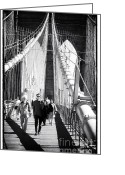 1990s Greeting Cards - Brooklyn Bridge Shadows 1990s Greeting Card by John Rizzuto