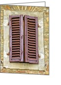 Old World Photography Greeting Cards - Brown Wood Shutters on an Exposed Brick Wall in Tuscany Greeting Card by David Letts