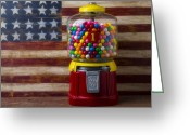 Cent Greeting Cards - Bubblegum machine and American flag Greeting Card by Garry Gay