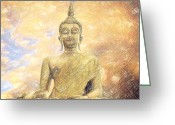 Peace Drawings Greeting Cards - Buddha Greeting Card by Taylan Soyturk