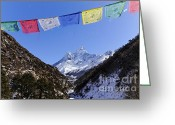 Ama Greeting Cards - Buddhist prayer flags and Ama Dablam mountain in the Everest Region of Nepal Greeting Card by Robert Preston