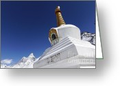 Ama Greeting Cards - Buddhist stupa at Tengboche monastery with the mountain of Ama Dablam behind it Everest Region Nep Greeting Card by Robert Preston