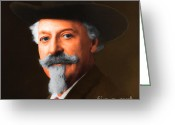 American Cowboy Digital Art Greeting Cards - Buffalo Bill Cody 20130516 square Greeting Card by Wingsdomain Art and Photography