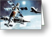 Vintage 1985 Greeting Cards - Buran approaching a manned space complex Greeting Card by Tilen Hrovatic