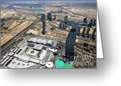 Souk Greeting Cards - Burj Khalifa Observation Deck View - 01 Greeting Card by Graham Taylor