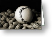 Team Greeting Cards - Buy Me Some Peanuts - Baseball - Nuts - Snack - Sport - B W Greeting Card by Andee Photography