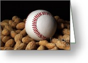 Athletic Digital Art Greeting Cards - Buy Me Some Peanuts - Baseball - Nuts - Snack - Sport Greeting Card by Andee Photography