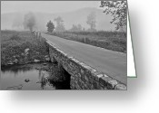 Robert Harmon Greeting Cards - Cades Cove Black and White Greeting Card by Robert Harmon