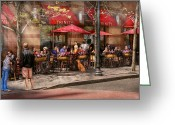 Old Street Greeting Cards - Cafe - Hoboken NJ - Cafe Trinity  Greeting Card by Mike Savad