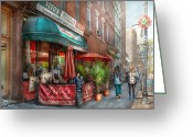 Neon Art Greeting Cards - Cafe - Hoboken NJ - Vitos Italian Deli  Greeting Card by Mike Savad