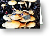 Surreal Mushrooms Greeting Cards - Camping on mushrooms Greeting Card by Mingqi Ge