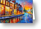 Leonid Afremov Greeting Cards - Canal in Amsterdam Greeting Card by Leonid Afremov