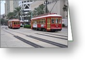 Bill Cannon Greeting Cards - Canal Street Cars Greeting Card by Bill Cannon