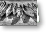 Sea Kayak Greeting Cards - Canoes in Black and White Greeting Card by Debra and Dave Vanderlaan