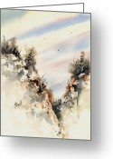 Cliff Painting Greeting Cards - Canyon Greeting Card by Sam Sidders