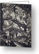 Surrealism Drawings Greeting Cards - Carceri VII Greeting Card by Giovanni Battista Piranesi