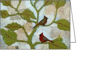 Interior Mixed Media Greeting Cards - Cardinal Bird Notes Greeting Card by Blenda Tyvoll