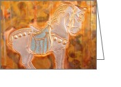 Featured Reliefs Greeting Cards - Carousel Horse Greeting Card by Sharon Orella