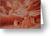 Grand Gulch Greeting Cards - Carving Into Canvas Greeting Card by Elizabeth Quagliaroli