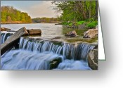 Ebb And Flow Greeting Cards - Cascade Close Up Greeting Card by Robert Harmon