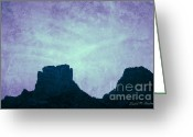 Image Overlay Greeting Cards - Castle Rock Sedona AZ Greeting Card by Dave Gordon
