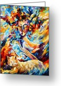 Leonid Afremov Greeting Cards - Cat Dreams Greeting Card by Leonid Afremov