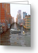 Flooding Greeting Cards - Catching A Taxi In NYC Greeting Card by Nina Bradica