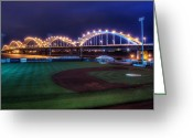 Blue Green Water Greeting Cards - Centennial Bridge and Modern Woodmen Park Greeting Card by Scott Norris