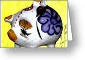 Glass Ceramics Greeting Cards - Ceramic Piggy Bank Greeting Card by Jennifer Muller