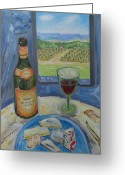 De Wine And Cheese Greeting Cards - Cheese and Wine Ramatuelle. Greeting Card by Agnieszka Praxmayer