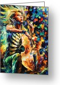 Blonde Girl Greeting Cards - Chelo Player Greeting Card by Leonid Afremov