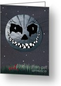 Man In The Moon Greeting Cards - Cheshire Moon by Shawna Erback Greeting Card by Shawna Erback