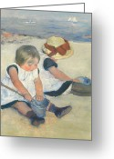 Cassatt Greeting Cards - Children Playing on the Beach Greeting Card by Mary Stevenson Cassatt