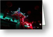 Kenneth James Greeting Cards - China Town @ night - Year of the Snake Greeting Card by Kenneth James