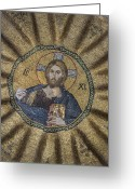 Pantocrator Greeting Cards - Christ Pantocrator surrounded by the prophets of the Old Testament 1 Greeting Card by Ayhan Altun