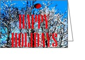 Winter Trees Mixed Media Greeting Cards - Christmas Snowy Tree Tops Greeting Card by Patrick J Murphy
