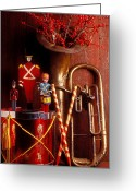 Drum Greeting Cards - Christmas Tuba Greeting Card by Garry Gay