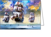 Featured Greeting Cards - Christopher Columbuss fleet  Greeting Card by English School