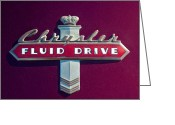 Fluid Greeting Cards - Chrysler Fluid Drive Emblem Greeting Card by Jill Reger